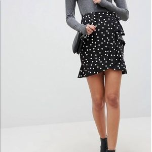 ASOS DESIGN mini wrap skirt in polka dot print NWT